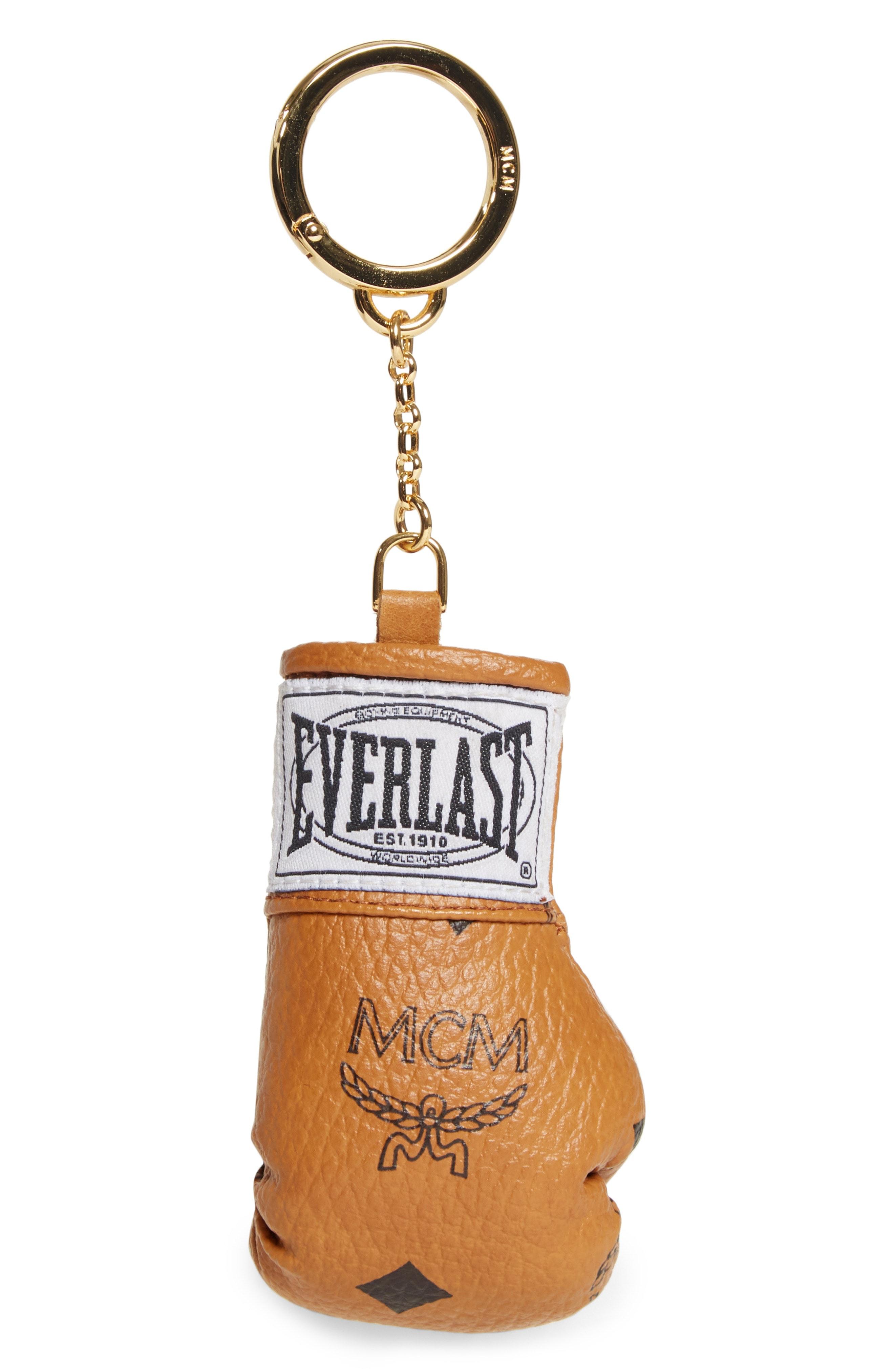 MCM x Everlast Glove Bag Charm Visetos Mini Cognac