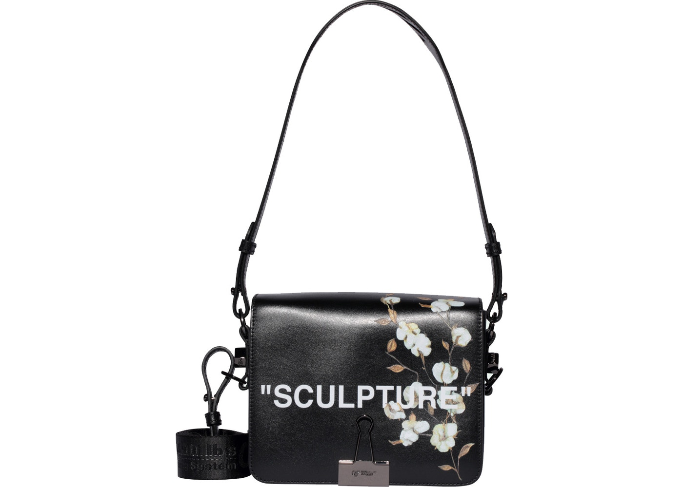 851db2427a406f OFF-WHITE Binder Clip Bag Cotton Flower Sculpture Black. Cotton Flower  Sculpture Black