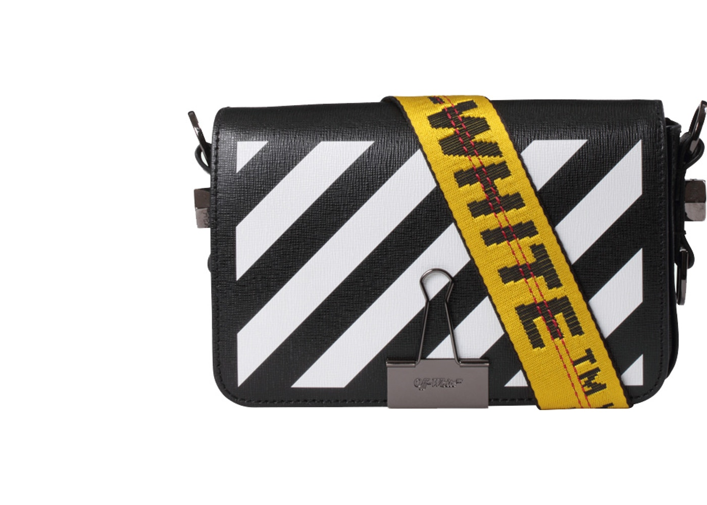 bf2b941b OFF-WHITE Binder Clip Bag Diag Mini Black White Yellow. Diag Mini Black  White Yellow
