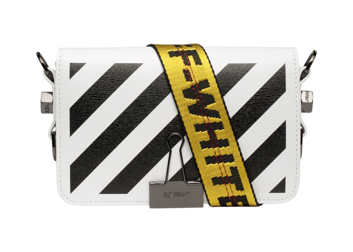 82fdee75 OFF-WHITE Binder Clip Bag Diag Mini White Black Yellow. Diag Mini White  Black Yellow