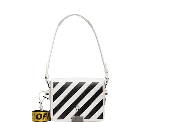 57156e5c OFF-WHITE Binder Clip Bag Diag White Black Yellow