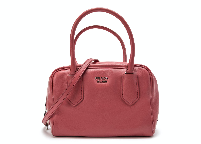 Prada Bauletto Handbag Dark Pink
