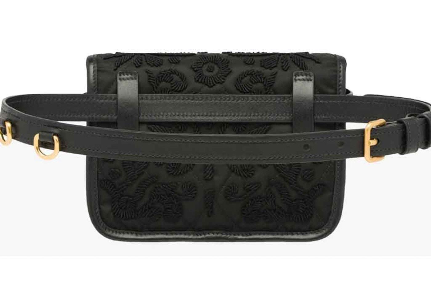 3c2e9f25f Prada Cahier Belt Bag Embroidered Velvet Black