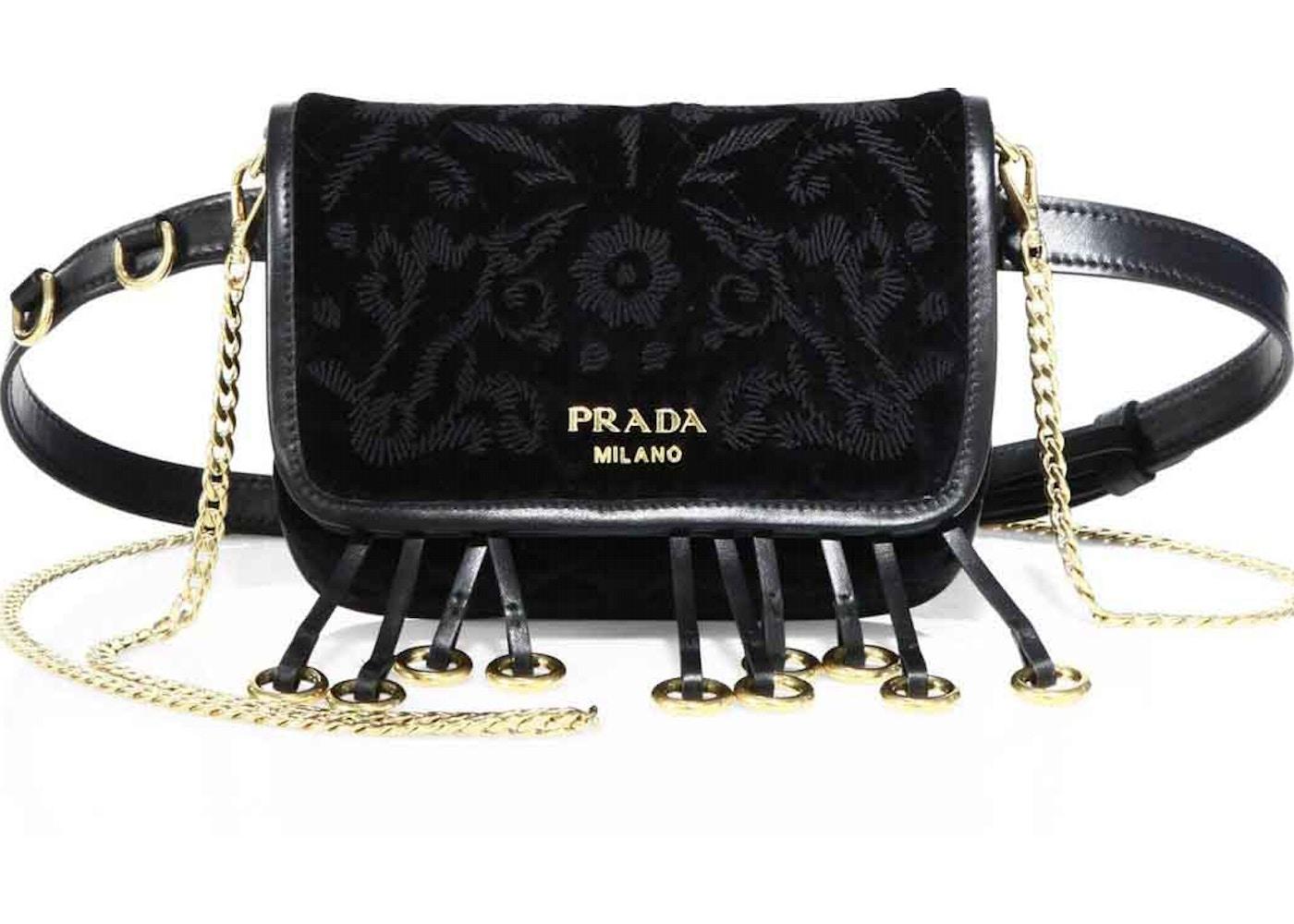 80d020af7 Prada Cahier Belt Bag Embroidered Velvet Black. Embroidered Velvet Black