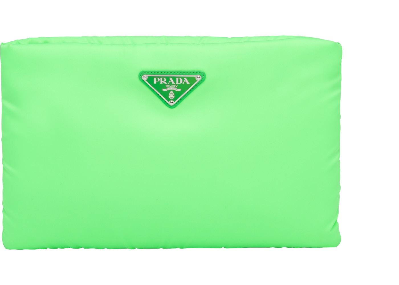 0d146050dd213f Prada Clutch Padded Nylon Medium Green. Medium Green