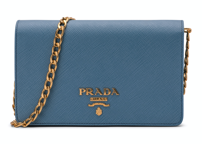Prada Crossbody With Chain Saffiano Leather Baby Blue