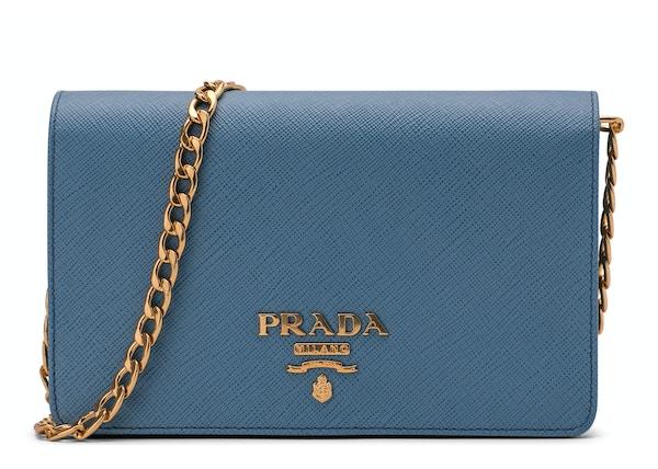 4453dfa10ff9c Prada Crossbody With Chain Saffiano Leather Baby Blue
