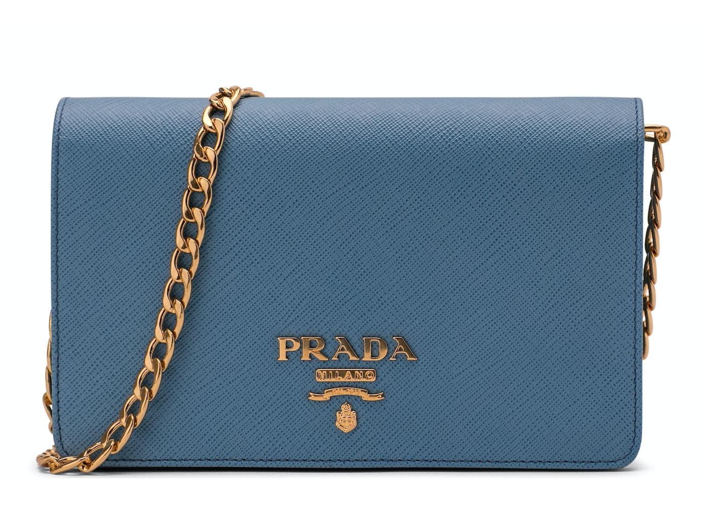 85ea966b114bfd Prada Crossbody With Chain Saffiano Leather Baby Blue. Saffiano Leather  Baby Blue