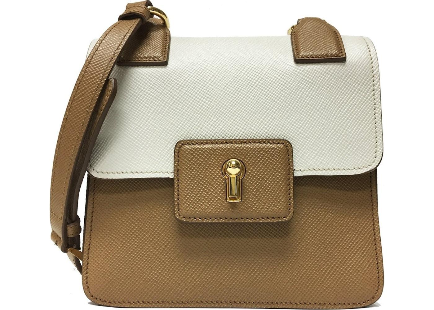 94a63e5e3e2db5 Prada Cuir Pattina Shoulder Bag Saffiano Caramel Beige/Talco White.  Saffiano Caramel Beige/Talco White