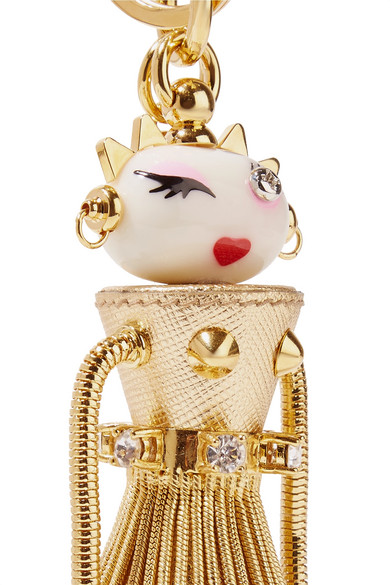 Prada Dalilah Embellished Metallic Textured-leather Keychain - Gold cyWOm2vn