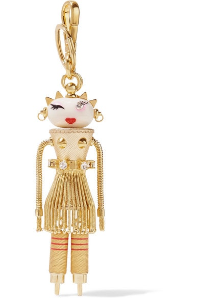 Prada Dalilah Embellished Keychain Metallic Textured Leather Gold