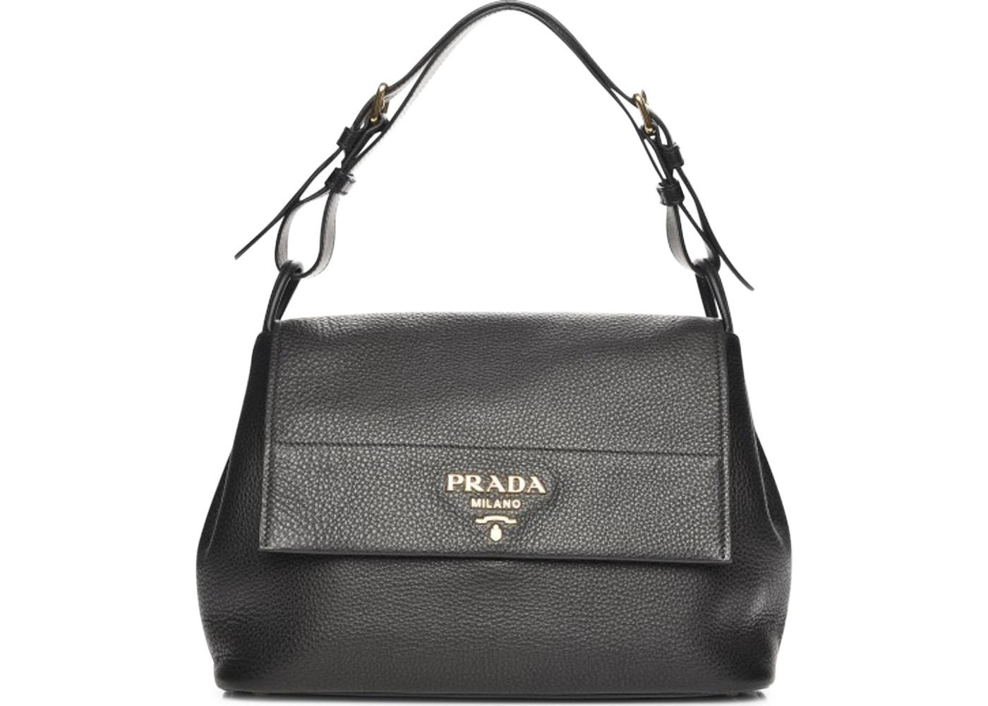 1be8da606843 Prada Flap Shoulder Bag Vitello Daino Nero Black