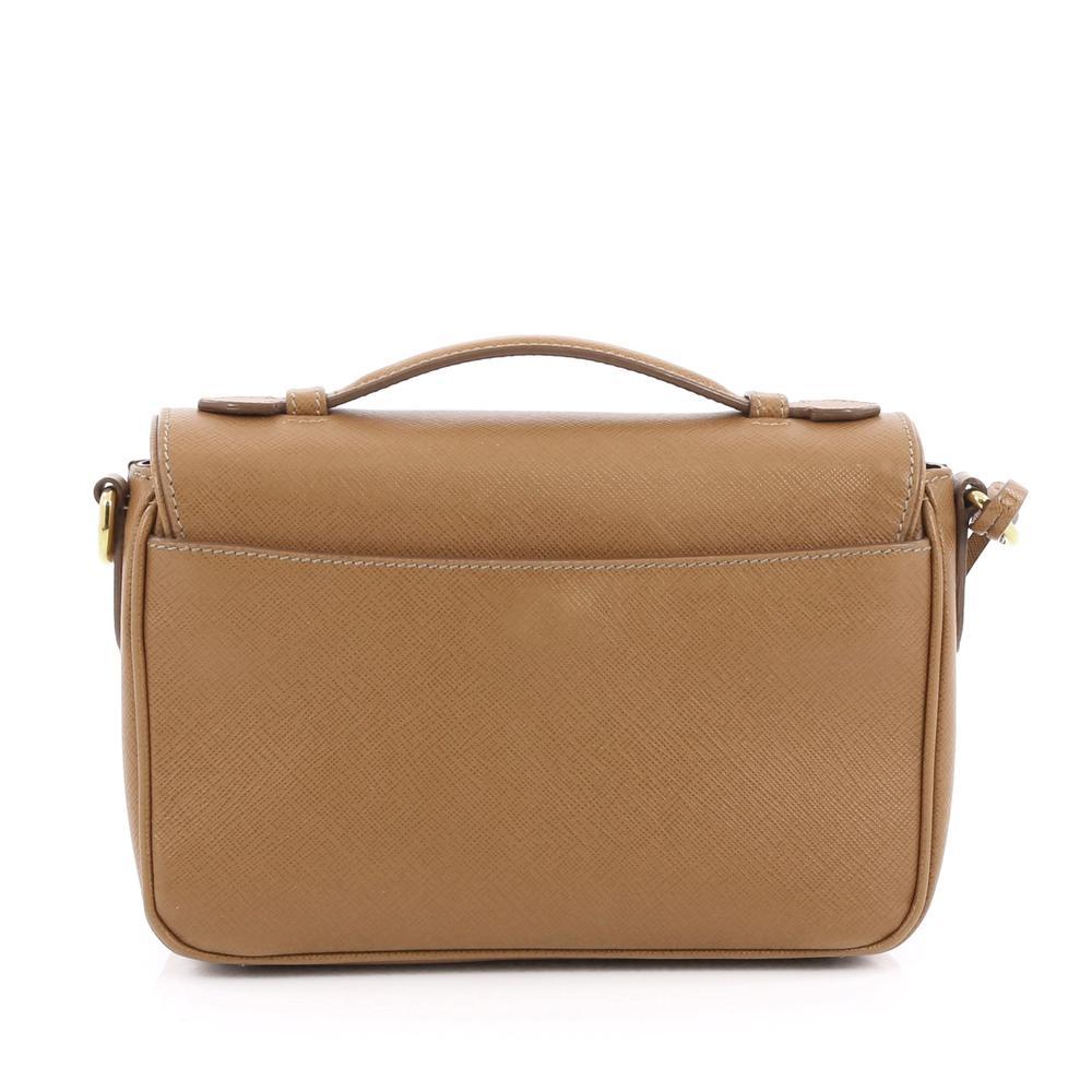 ccbc4aca12d3 ... low price prada sound bag convertible flap vernice saffiano mini light  brown ab3be 37c77