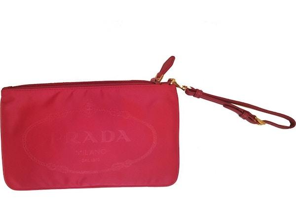 Prada Jacquard Cosmetic Case Logo Fuschia a8f7634abb0cf