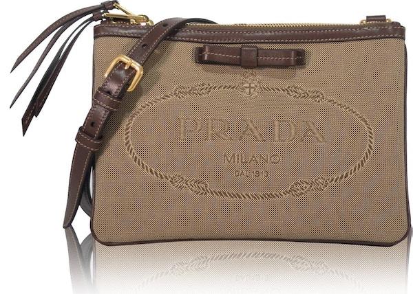 c4abdacbdb4d Prada Jacquard Crossbody Bag Logo Brown Beige