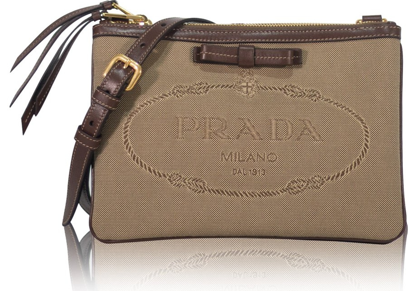 dc6ee0448a Prada Jacquard Crossbody Bag Logo Brown Beige. Logo Brown Beige