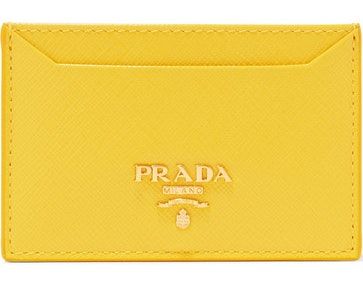Prada Metal Oro Card Case Saffiano Yellow