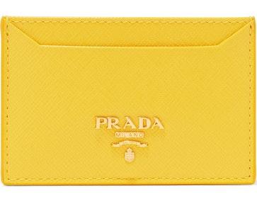 Prada Metal Oro Card Case Saffiano Yellow
