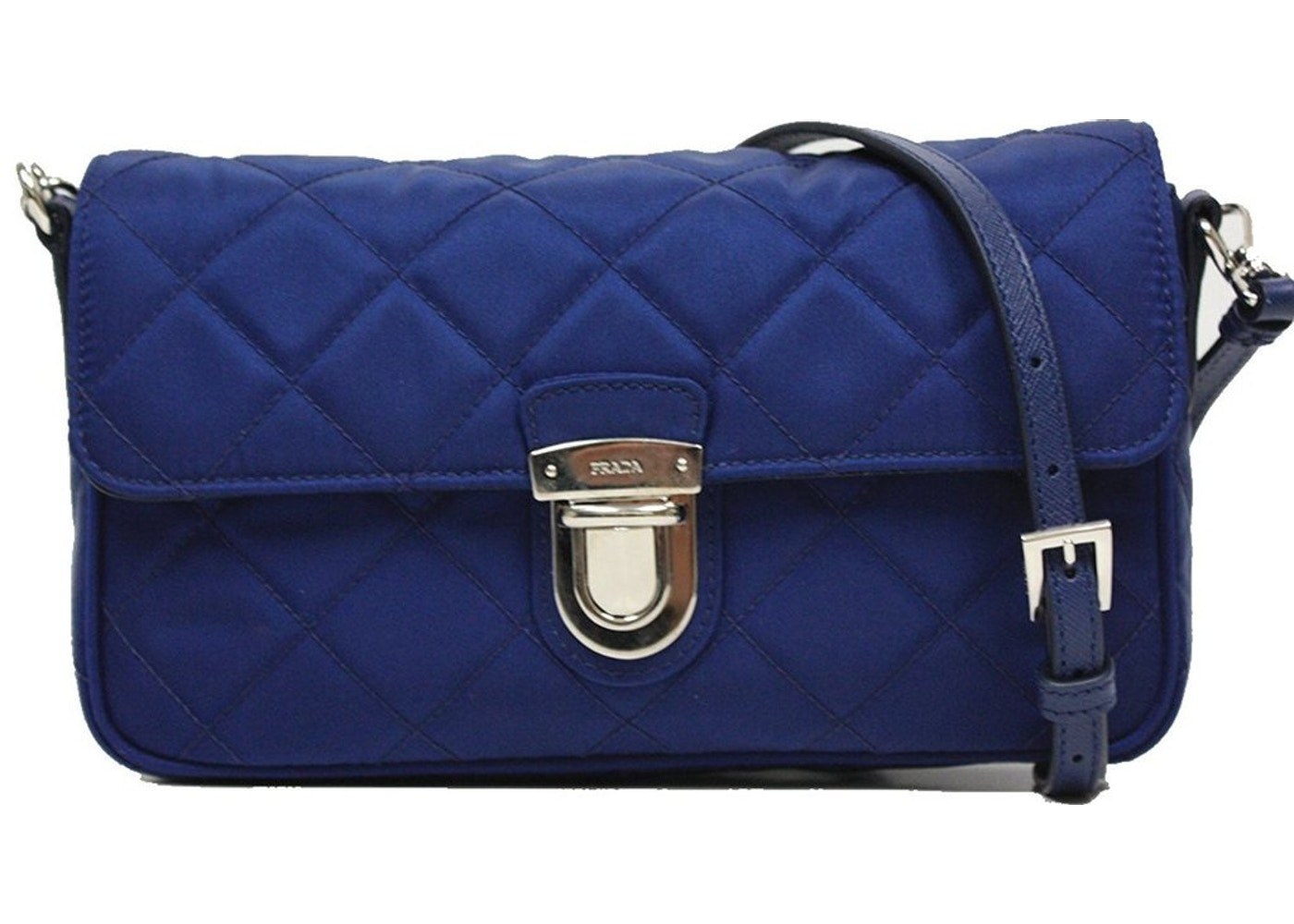 3bb8f1e5a11656 Prada Pattina Shoulder Bag Quilted Tessuto Impuntu Blue. Quilted Tessuto  Impuntu Blue