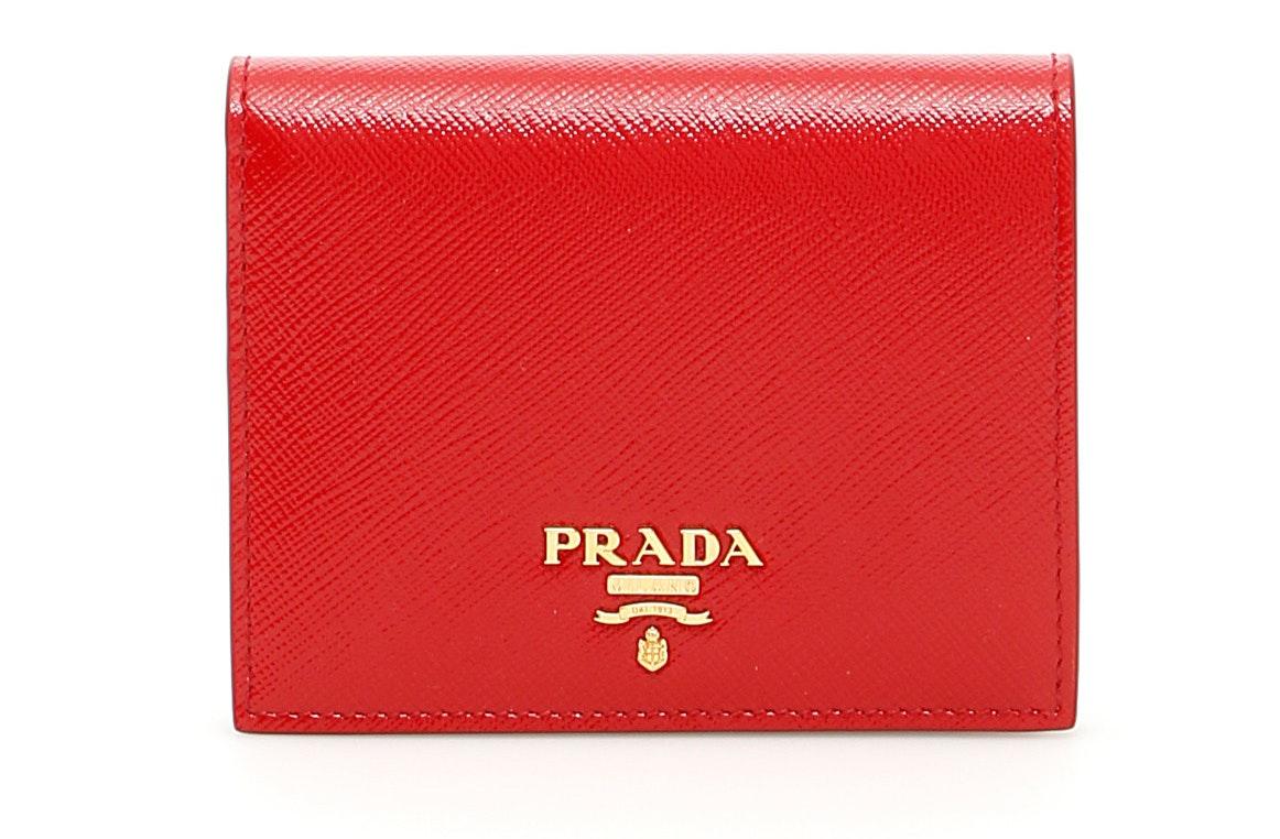 Prada Portafoglio Verticale Wallet Saffiano Red