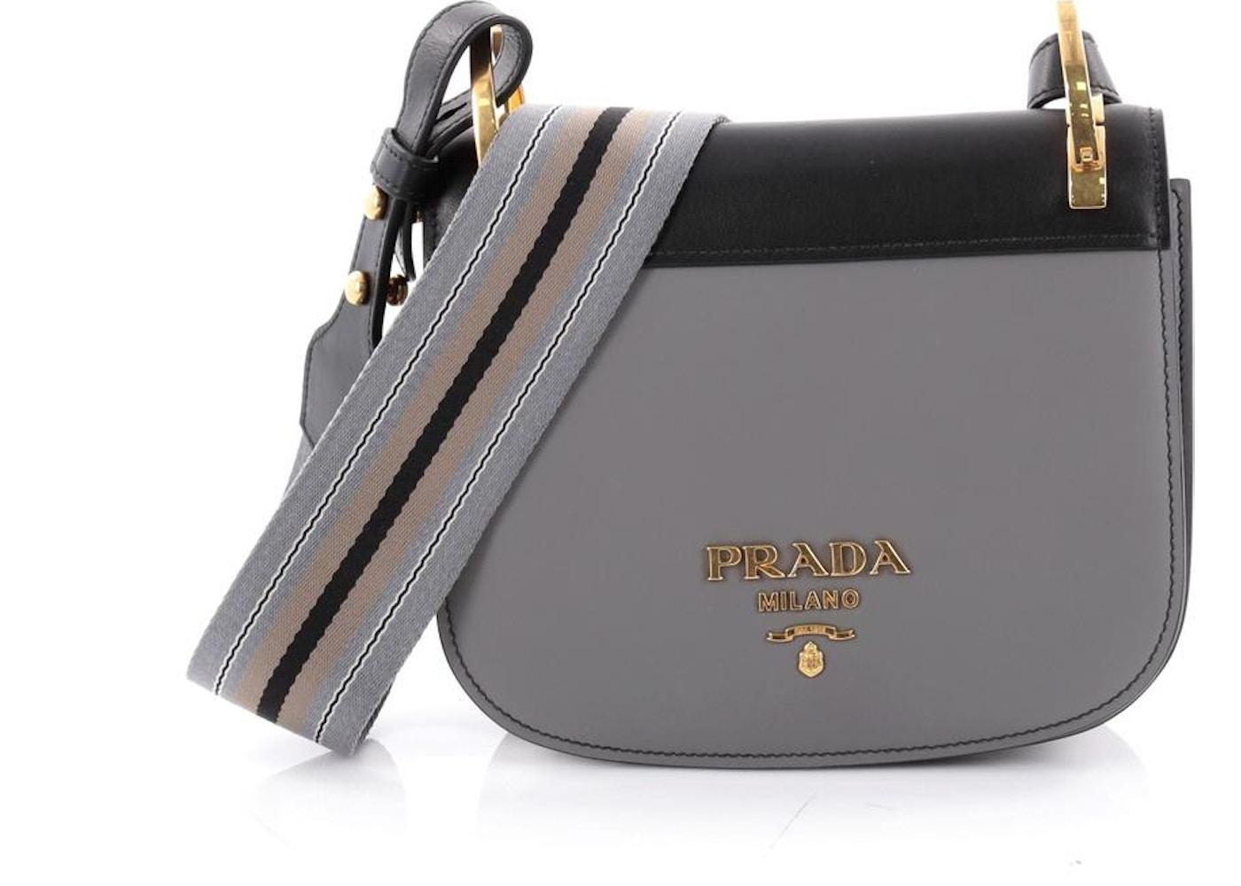34d7156198ed Prada Pionniere Saddle Bag Small Gray Black. Small Gray Black