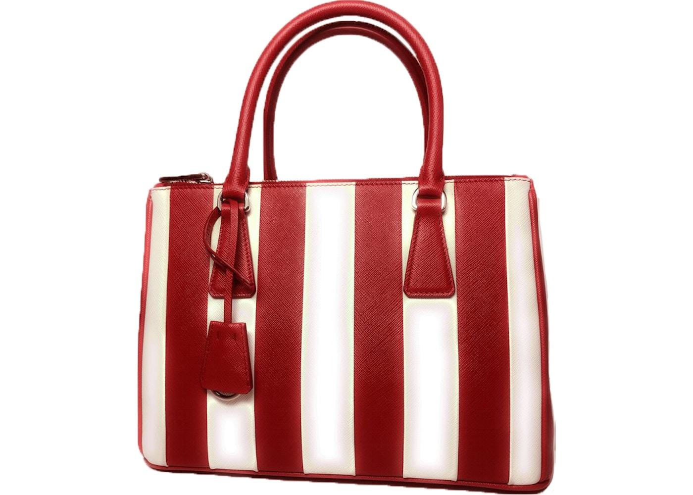 Prada Saffiano Galleria Handbag Red White
