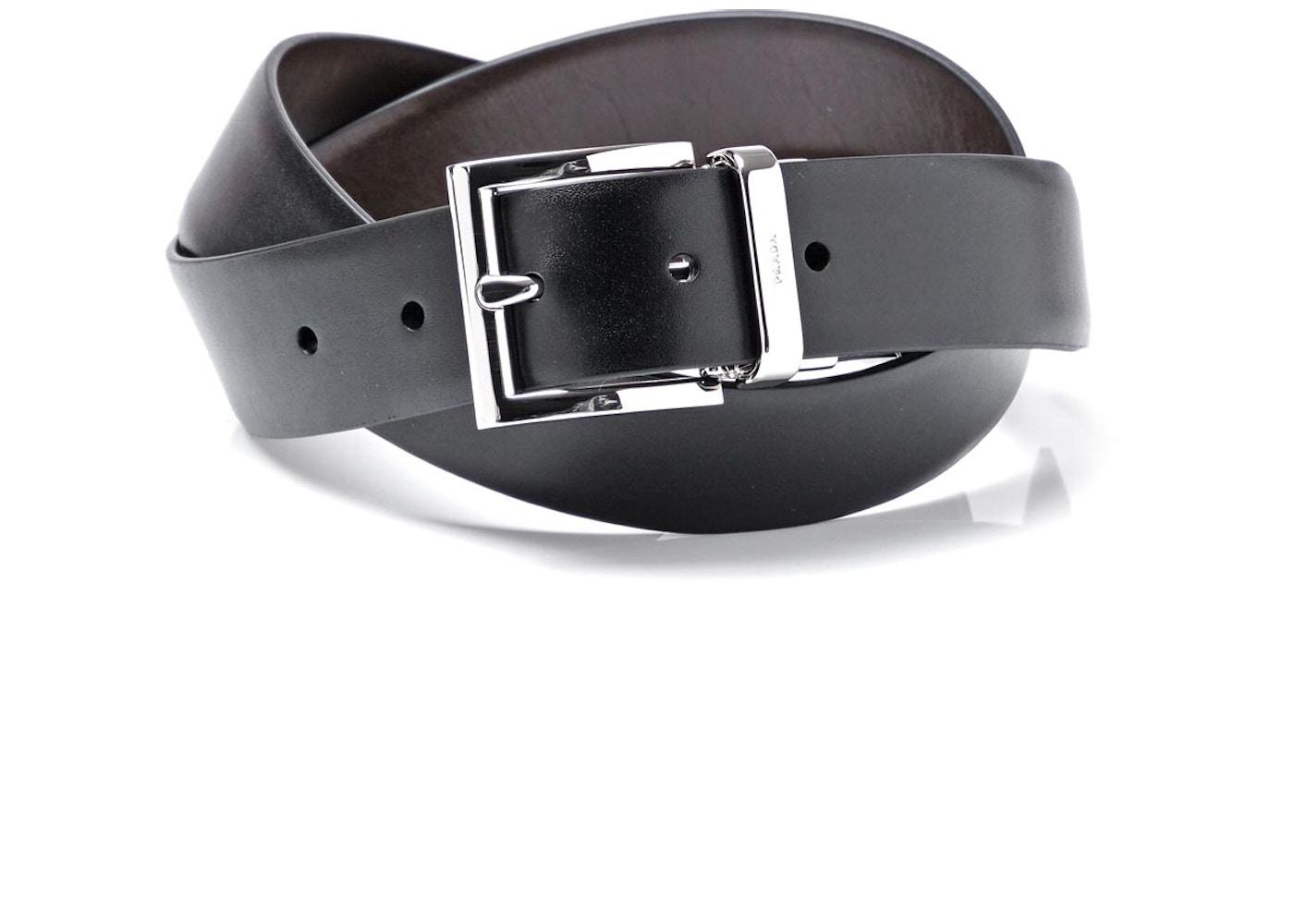 84c63faa0f7b6 Prada Saffiano Leather Belt 1 Width Black