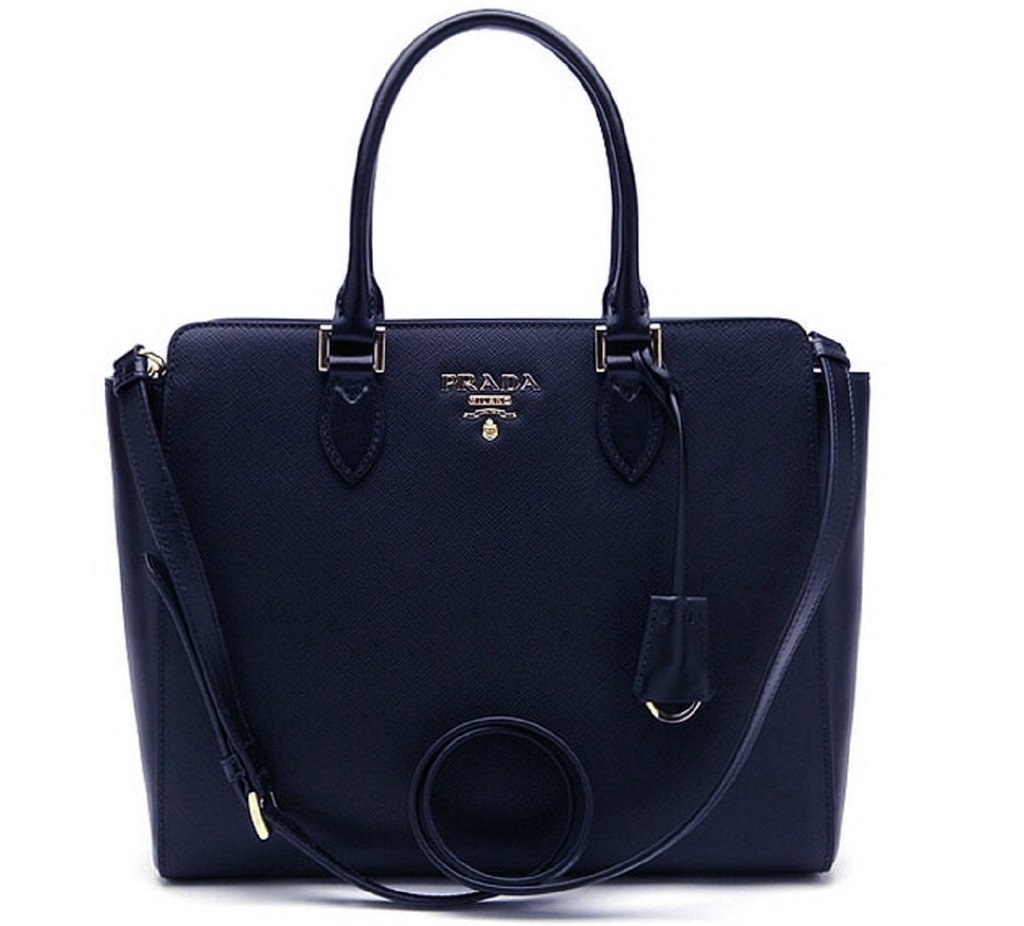 afcdf5a8e51c Prada Saffiano Lux Handbag Navy Blue
