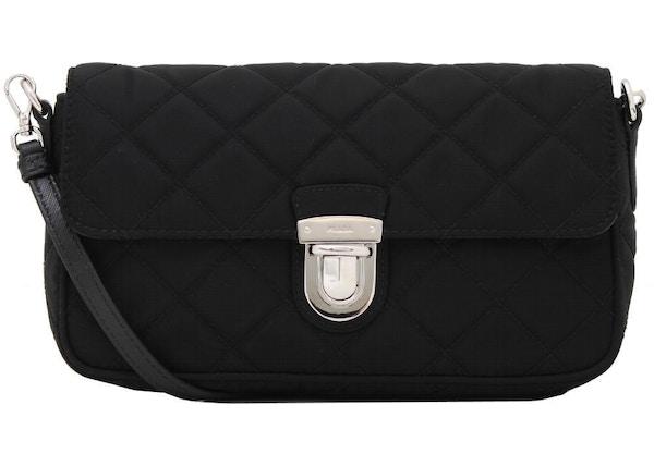 5c2a0d037869 Prada Shoulder Bag Quilted Tessuto Black