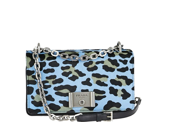 0e4ba9585a Prada Pushlock Flap Shoulder Bag Leopard Print Blue Black Grey