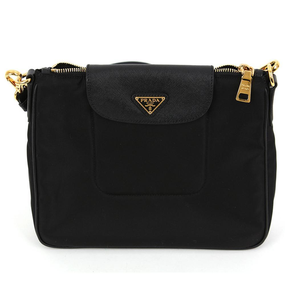 Prada Tessuto Crossbody Bag Leather Black