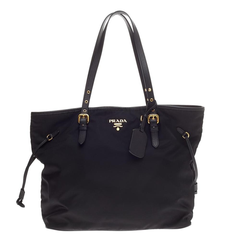 Prada Belted Tote Tessuto/Saffiano Medium Black