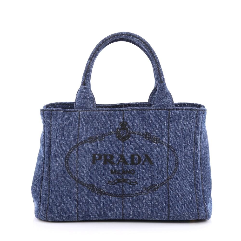 c3ea6af534fd4f ... good prada canapa convertible tote embossed logo mini blue. embossed  logo mini blue 82704 7c098