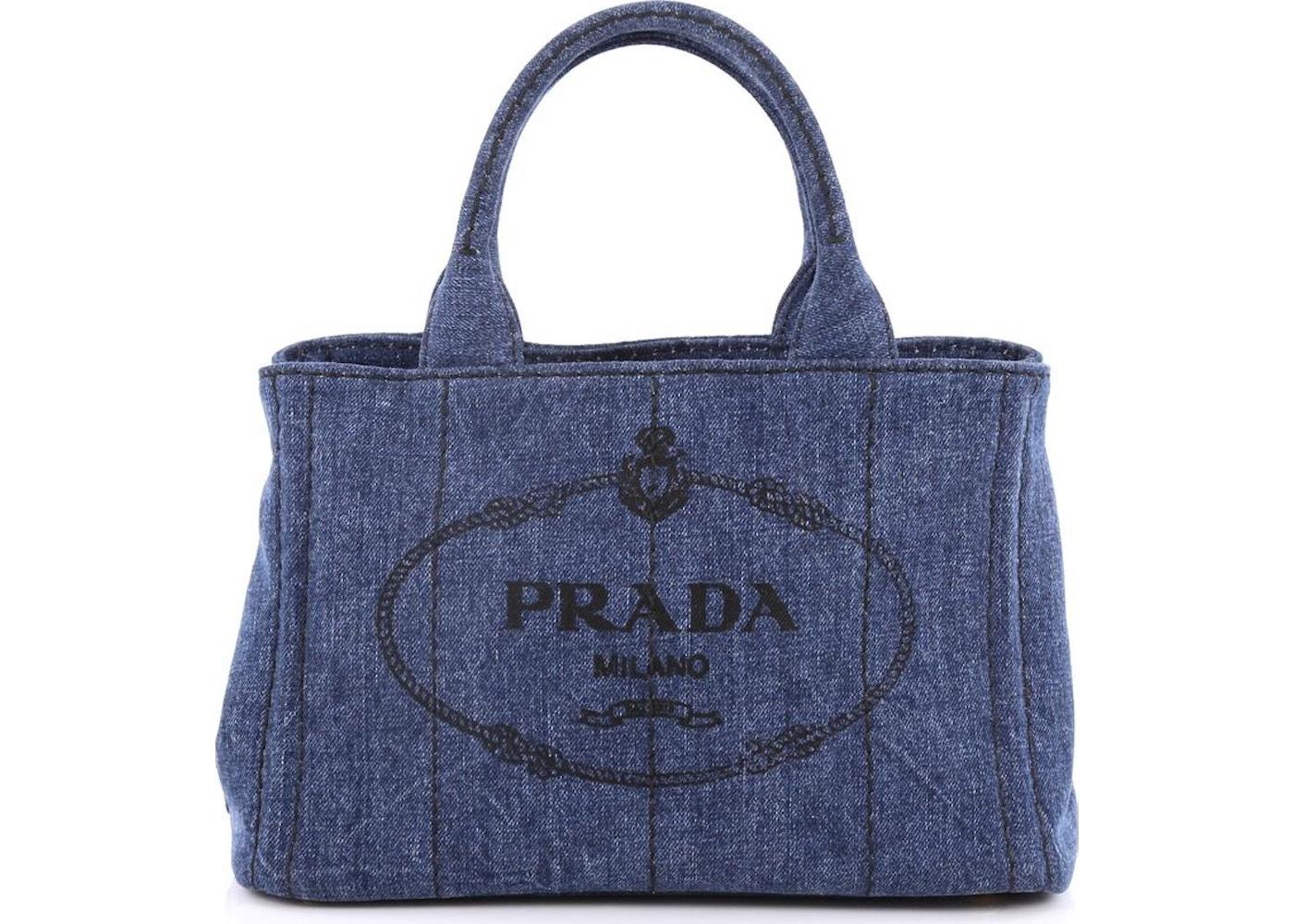 4d465ac38a13 Prada Canapa Convertible Tote Embossed Logo Mini Blue
