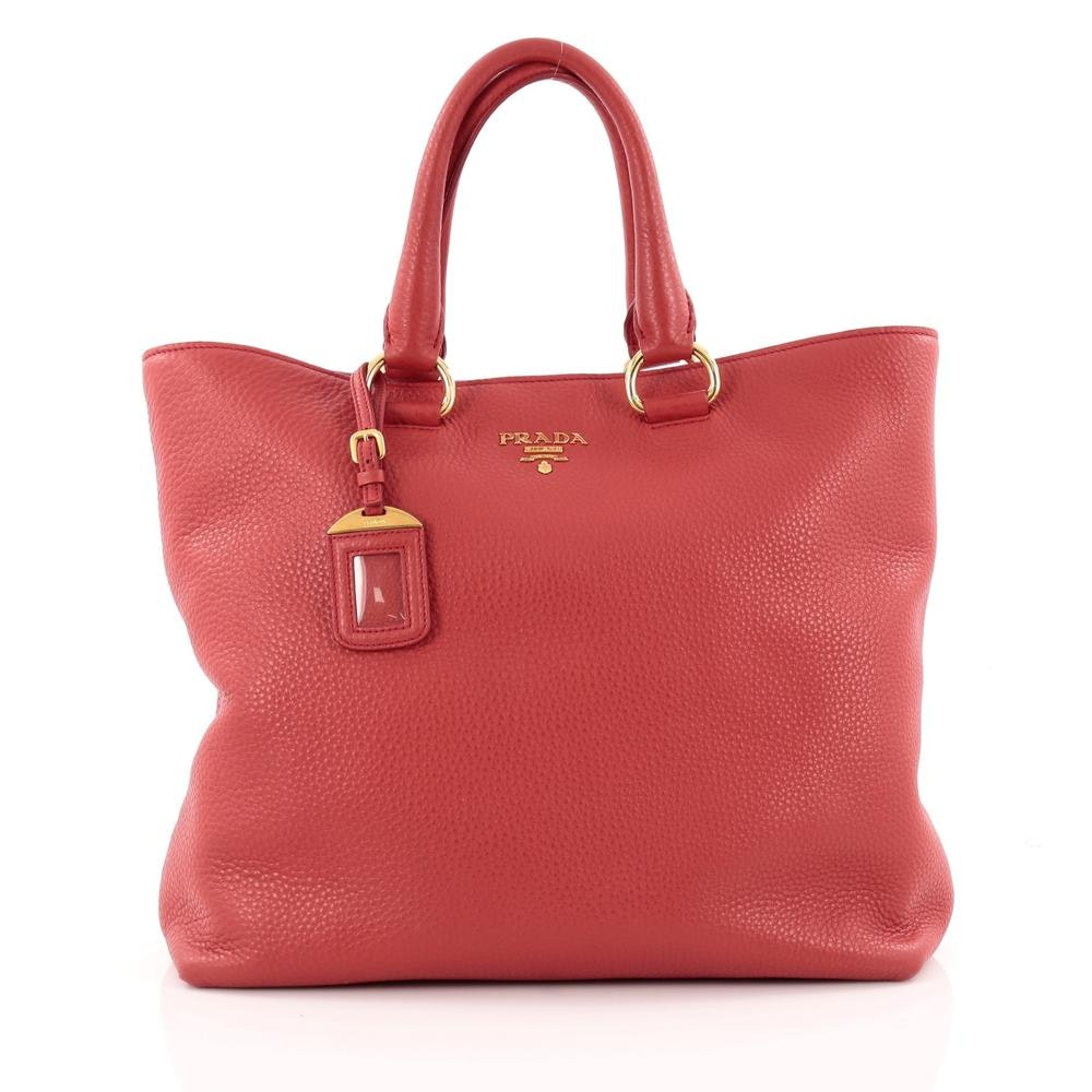 Prada Convertible Tote Vitello Daino Large Red