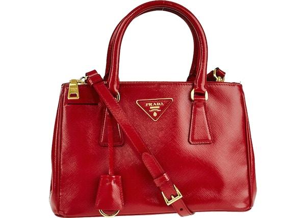 bc11883eec71 Prada Double Zip Lux Convertible Tote Vernice Saffiano Mini Red