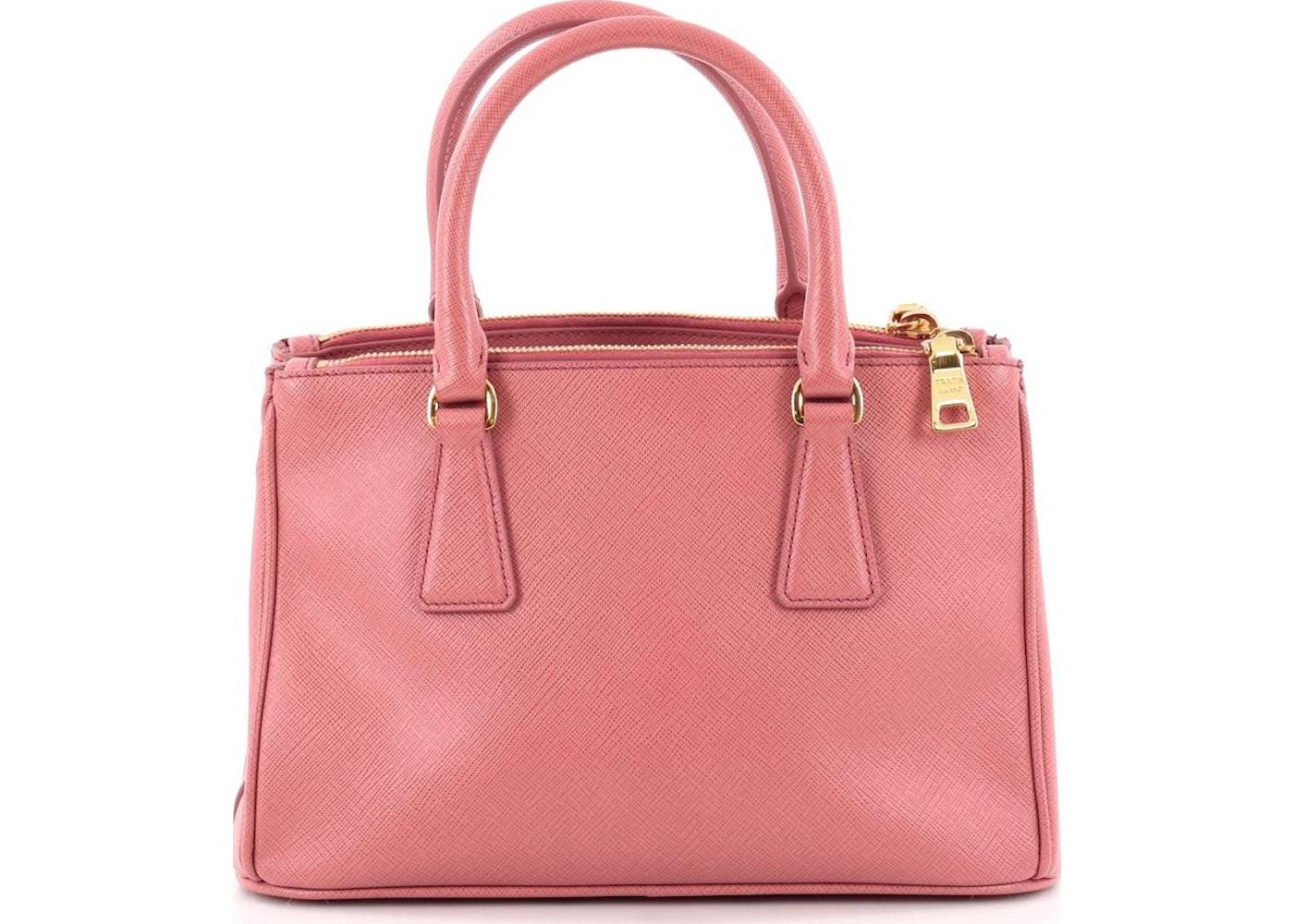 c4e478ce2c1c2 Prada Double Zip Lux Tote Saffiano Mini Tamaris Pink