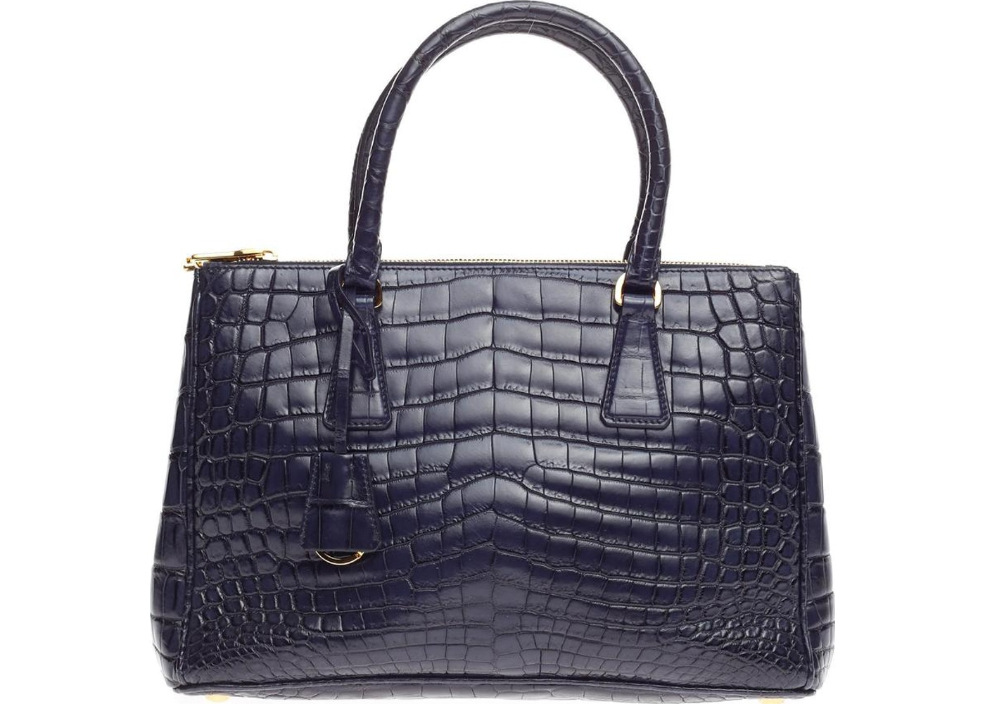 7cd1f8b71c89 Prada Double Zip Tote Crocodile Embossed Small Dark Blue. Crocodile  Embossed Small Dark Blue