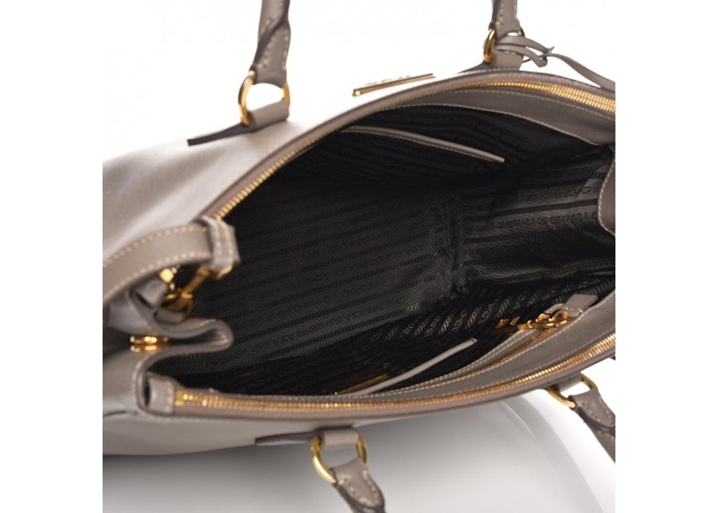 78098376ae25c3 Prada Galleria Double Zip Tote Saffiano Medium Argilla Grey