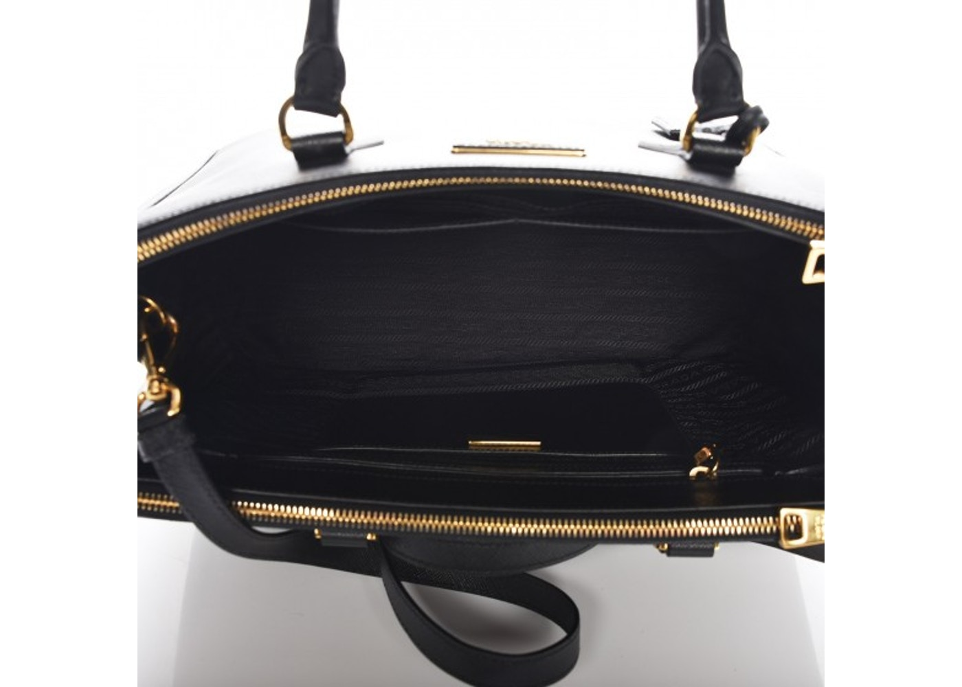 0a99781ef1d2 Prada Galleria Double Zip Tote Saffiano Medium Nero Black