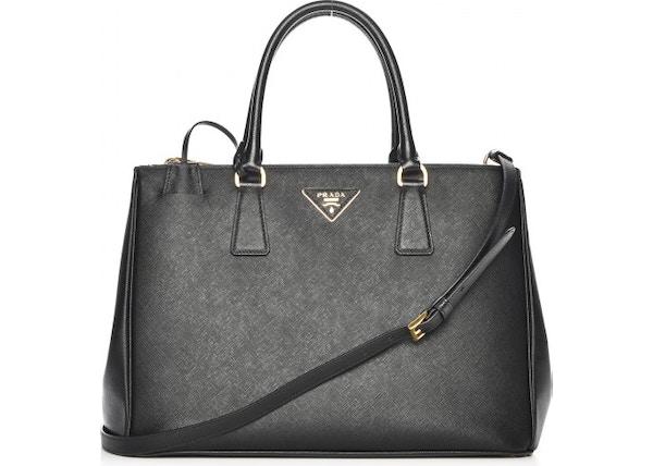 5d7ad0a8bccd Prada Galleria Double Zip Tote Saffiano Medium Nero Black