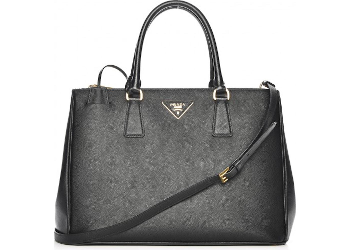 53fbe99546e6 Prada Galleria Double Zip Tote Saffiano Medium Nero Black