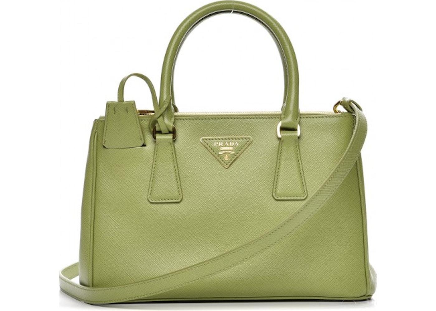 3a4e6e317927 Prada Galleria Double Zip Tote Saffiano Mini Apple Green