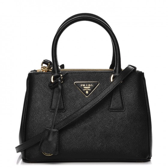 Prada Galleria Double Zip Tote Saffiano Mini Nero Black