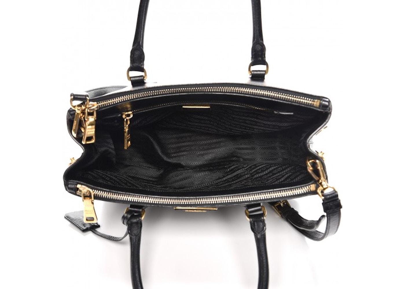 3790f986d414 Prada Galleria Double Zip Tote Saffiano Small Nero Black