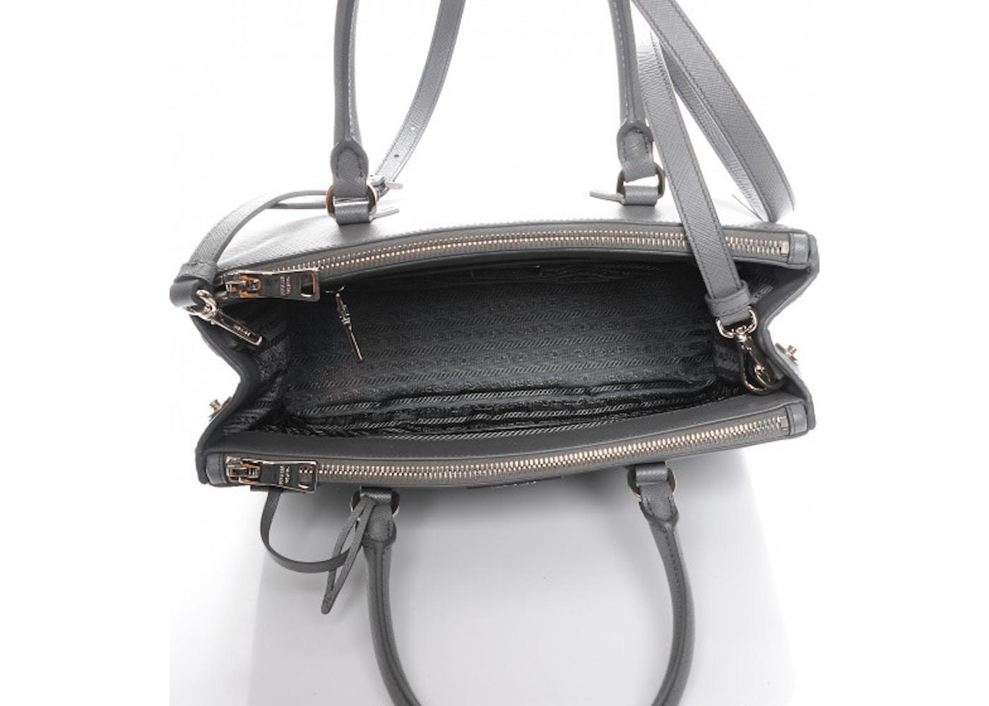 1e28767600dd65 Prada Galleria Double Zip Tote Saffiano Small Marmo Grey