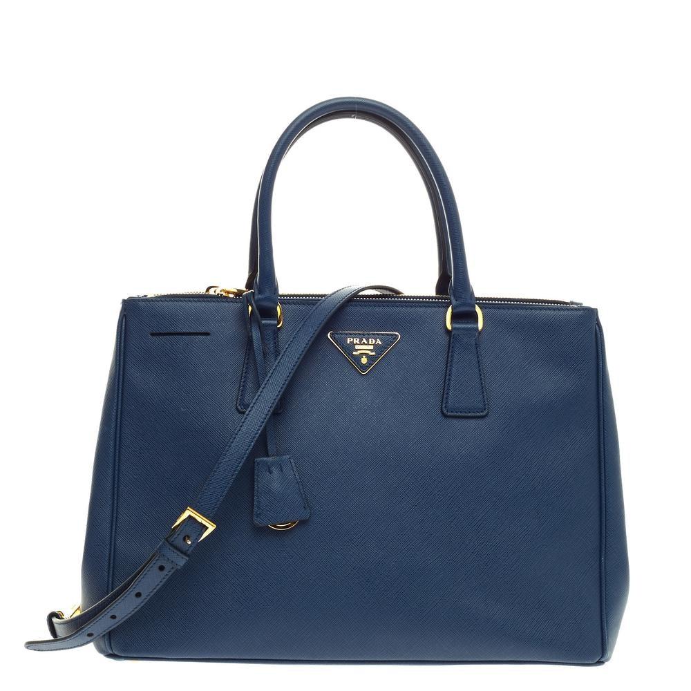 Prada Lux Double Zip Tote Saffiano Medium Bluette Blue