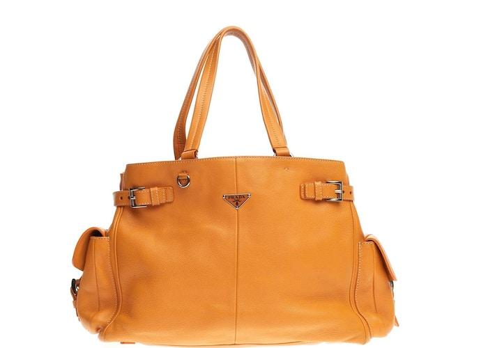 7ba0ffdb2b Prada Pocket Large Sun Vitello Belt Daino Tote Side Orange ggqrUnf4