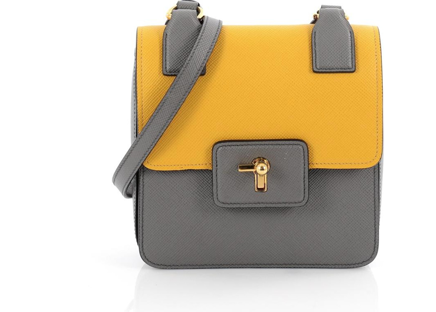 1bf3317bb3ad Prada Turnlock Tote Saffiano Small Marmo Grey /Soleil Yellow. Saffiano Small  Marmo Grey /Soleil Yellow