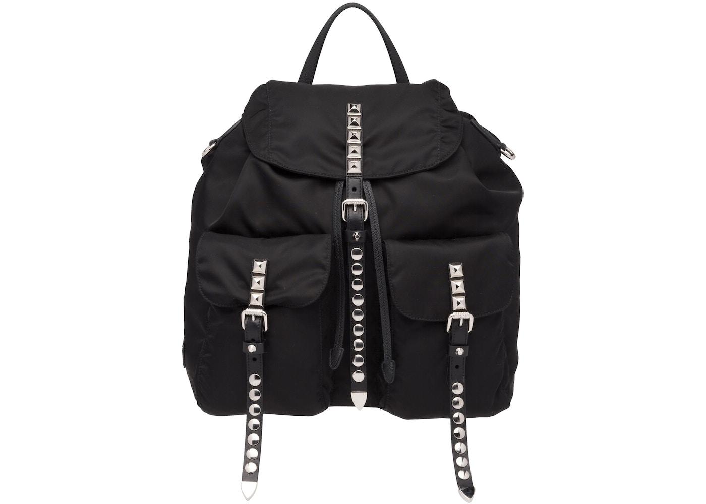 fea9e289dfd Prada Vela Backpack Silver-Studded Black Saffiano Leather Black